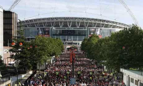 Football fans outside Wembley