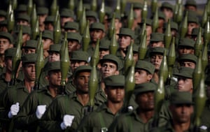 Bay of Pigs anniversary: Cuban soldiers march along the Plaza de la Revolucion