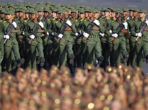 Bay of Pigs anniversary: Cuban soldiers march during a military parade in Havana's Revolution Square