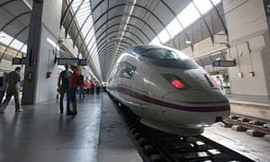The high-speed AVE train, which runs at 220mph between Madrid and Barcelona