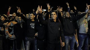 Misrata, Libya : Libyan men chant slogans supporting the revolution