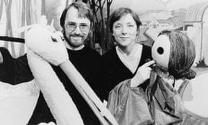 Hannah Kodicek, right, with Rosta Cerny and puppets for the show Once Upon a Time