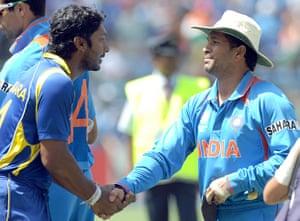 crickworldcup: Sri Lanka captain Kumar Sangakkara greets India's Sachin Tendulkar