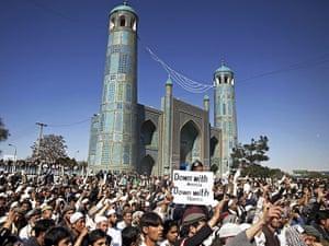 Afghanistan protests: Afghans chant slogans during a demonstration in Mazar-i-Sharif