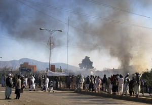 Afghanistan protests: Smoke rises from the UN compound in Mazar-e-Sharif