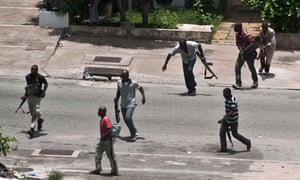 Militiamen from the Young Patriots, loyal to President Laurent Gbagbo