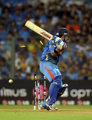 Cricket World Cup: India's Gautam Gambhir is bowled by Sri Lanka's Thisara Perera