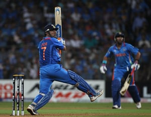Cricket World Cup: Captain Dhoni hits a six