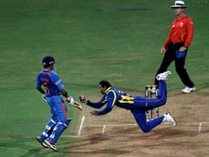 Cricket World Cup: Tillakaratne Dilshan of Sri Lanka dives to take a catch