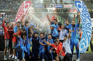 Cricket World Cup: Indian cricketers celebrate with the trophy