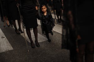 """Holy Week in Malaga: A girl wearing a traditional mantilla during the procession of """"Gitanos"""""""