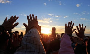 Druids at Stonehenge celebrate the summer solstice