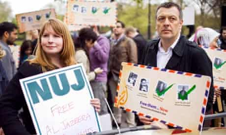 Michelle Stanistreet with Jeremy Dear, who she is replacing as NUJ general secretary