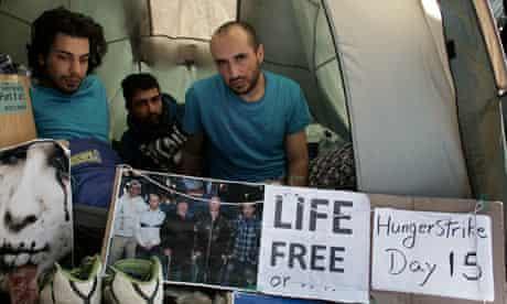 Iranian hunger strikers Mahyar and Mehran Meyari and Keyvan Bahari