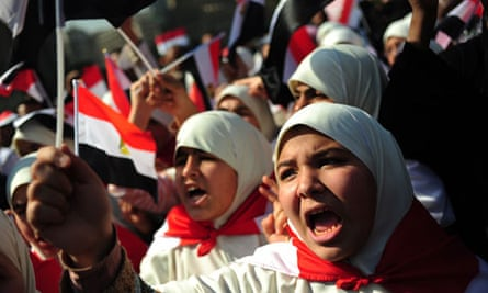 Egyptian women shout slogans in Tahrir Square