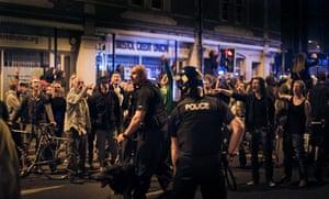 Tesco riots in Bristol: Riot police at the scene