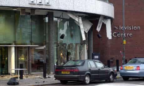 Scene of car bomb explosion at BBC Television Centre in 2001