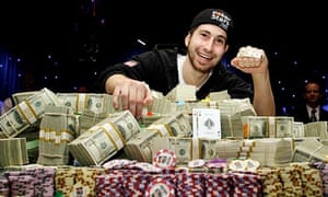 Jonathan Duhamel with prize money US World Series Poker Rio hotel-casino in Las Vegas