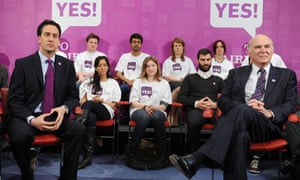 Ed Miliband and Vince Cable at an event in London to promote the yes campaign.