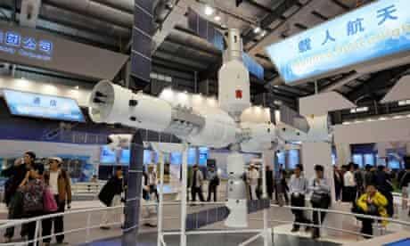 Model of China's homemade Tiangong 1 space station at Airshow China