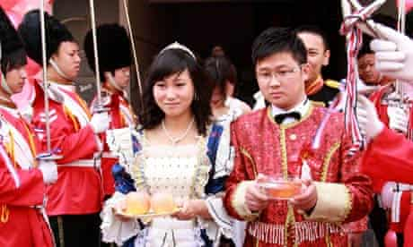 A bride and groom at their wedding ceremony in Nanjing city, China