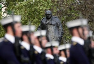 Royal Wedding rehearsal: Sailors of the Royal Navy march past the statue of Winston Churchill