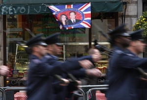 Royal Wedding rehearsal: A flag depicting Kate Middleton and Prince William