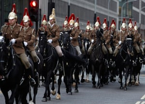 Royal Wedding rehearsal: The Household Cavalry parade past Westminster Abbey