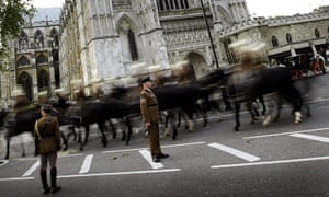 Royal Wedding rehearsal: Soldier ride their horses outside Westminster Abbey in London