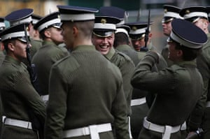 Royal Wedding rehearsal: A soldier laughs during a Royal wedding rehearsal