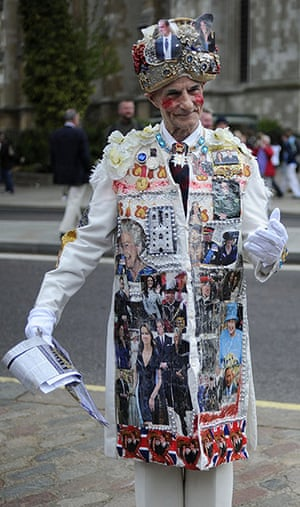 Royal Wedding rehearsal: A man wears a coat decorated with pictures of William and Kate