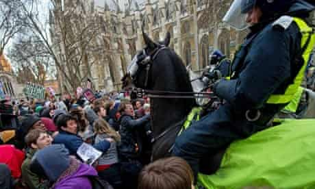 Mounted police at student protest Dec 9 2010
