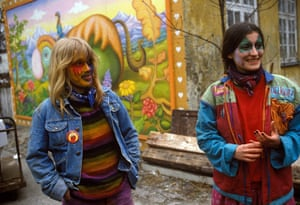 Christiania Copenhagen: Women with painted faces in Christiania in the mid 1980s