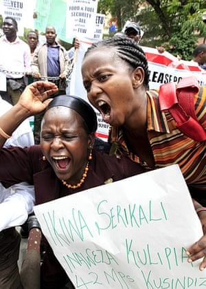 Africa Unrest: Members of Kenya's civil society chant slogans in Nairobi