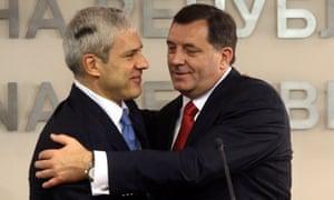 Serbia's President Tadic and Milorad Dodik