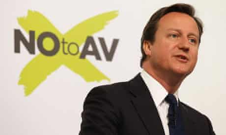 David Cameron delivers a speech against the alternative vote (AV)