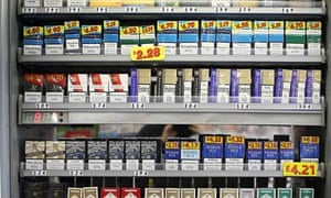 Cigarettes in newsagent