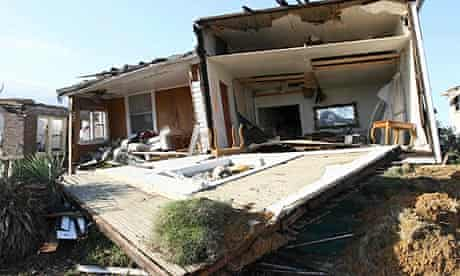 A house in a suburb of Birmingham, Alabama, that was taken off its foundations by the tornadoes
