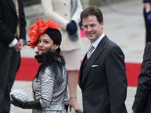 Wedding guests: Nick Clegg and his wife Miriam Gonzalez Durantez arrive