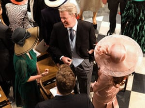 Wedding guests: Earl Spencer, brother to the late Princess Diana, speaks with guests