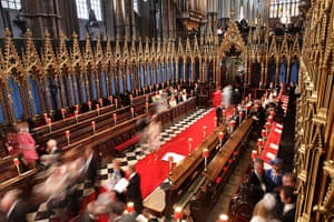 Wedding guests: Guests arrive at Westminster Abbey