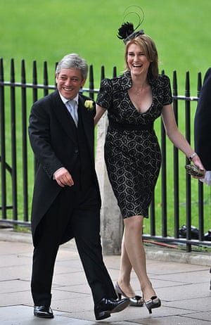 Wedding guests: House of Commons Speaker John Bercow and Sally Bercow arrive
