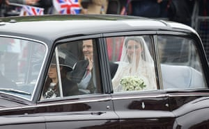 Wedding guests: Catherine Middleton and her father Michael Middleton travel