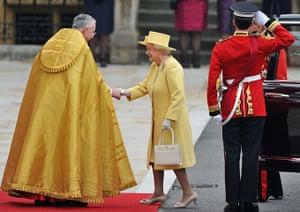 Wedding guests: Queen Elizabeth II and Prince Philip, Duke of Edinburgh arrive