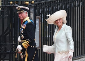 Wedding guests: The Prince of Wales and the Duchess of Cornwall arrive at Westminster Abbey