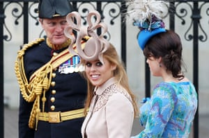 Wedding guests: Princess Beatrice of York with her sister Princess Eugenie of York
