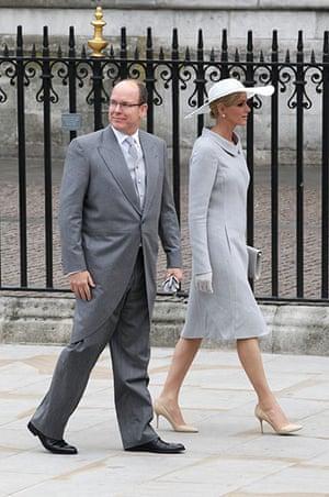 Wedding guests: Prince Albert II of Monaco and Miss Charlene Wittstock arrive