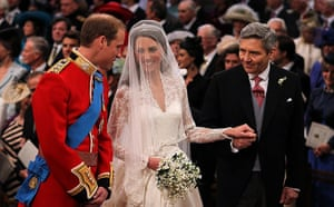 Wedding guests: Prince William looks at his bride Kate Middleton