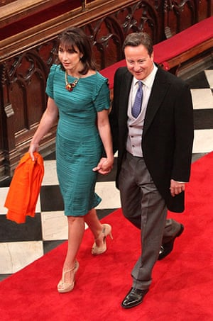 Wedding guests: Prime Minister David Cameron and wife Samantha Cameron arrive