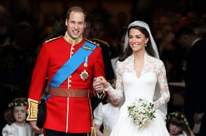 Wedding procession: Prince William and Catherine, smile following their marriage